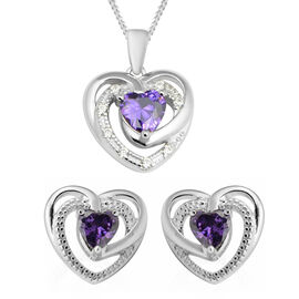 One Time Close Out Deal- 2 Piece Set -  Purple Cubic Zirconia and Natural Cambodian Zircon Heart Pen