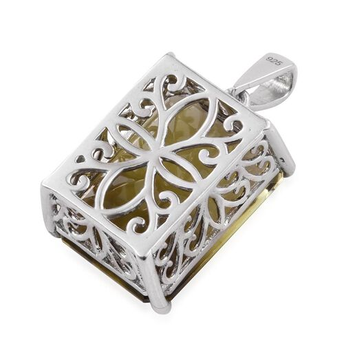 One Time Deal-Smoketrine (Oct) Pendant in Platinum Overlay Sterling Silver 18.500 Ct.