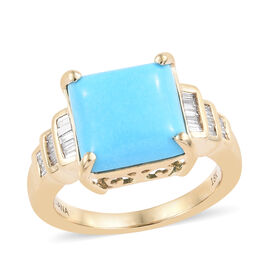 ILIANA 18K Yellow Gold AAA Arizona Sleeping Beauty Turquoise (Sqr 3.75 Ct), Diamond (SI/G-H) Ring 4.000 Ct.
