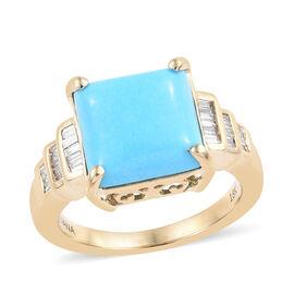 ILIANA 18K Yellow Gold AAA Arizona Sleeping Beauty Turquoise (Sqr 3.75 Ct), Diamond (SI/G-H) Ring 4.