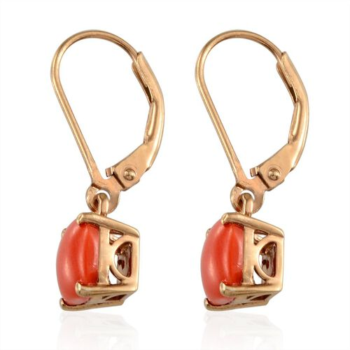 Mediterranean Coral (2.75 Ct) 14K Gold Overlay Sterling Silver Earring  2.750  Ct.