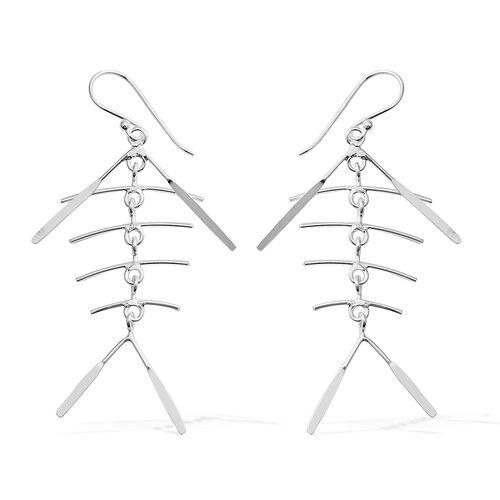 Rhodium Overlay Sterling Silver Hook Earrings