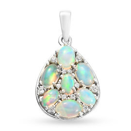 Ethiopian Welo Opal and Natural Cambodian Zircon Cluster Pendant in Sterling Silver 1.83 Ct.