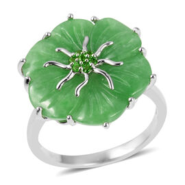 11.35 Ct Carved Green Jade and Russian Diopside Floral Ring in Rhodium Plated Silver