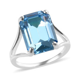 J Francis Aquamarine Colour Crystal from Swarovski Solitaire Ring in Silver