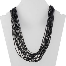 280 Carat Natural Boi Ploi Black Spinel Multi Strand Beaded Necklace in Silver 20 Inch