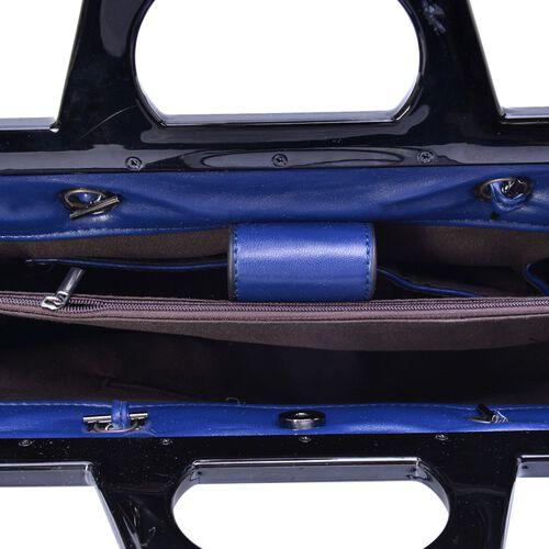 Navy Colour Diamond Pattern Tote Bag (Size 33x23x9.5 Cm)