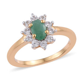 Kagem Zambian Emerald (Ovl), Natural Cambodian Zircon Ring in 14K Gold Overlay Sterling Silver 1.000