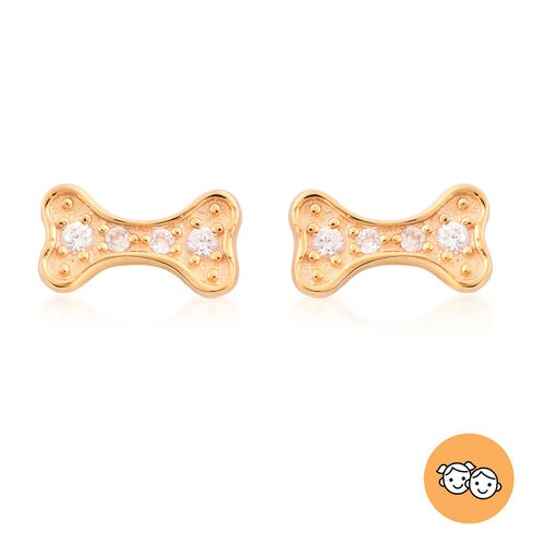 RACHEL GALLEY - Natural Cambodian Zircon Dog-Bone stud Earrings (with Push Back) in Yellow Gold Over