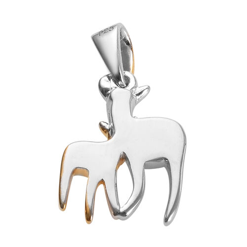 Diamond Mother and Child Deer Pendant in Platinum and Gold Plated Silver