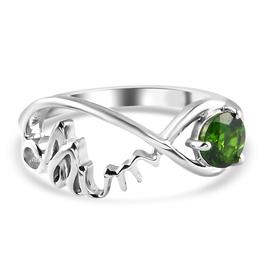 Russian Diopside Ring in Platinum Overlay Sterling Silver