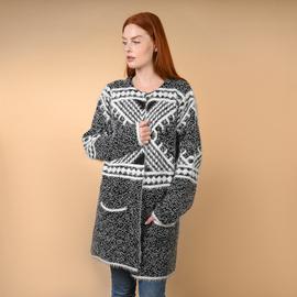 TAMSY Grey and White Pattern V-Neck Jacket