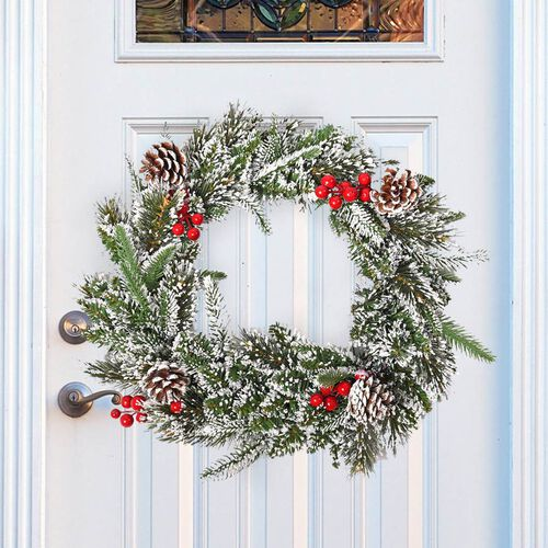 Christmas Decoration Wreath with Snow Flocking, Pine Cone and Fruits (Size: 26cm) - White and Green