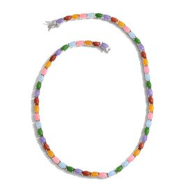 63 Ct Multi Colour Jade Beaded Necklace in Platinum Plated Silver 27 Grams 18 Inch
