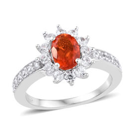 Jalisco Fire Opal (Ovl 7x5 mm), Natural Cambodian Zircon Ring in Platinum Overlay Sterling Silver 1.