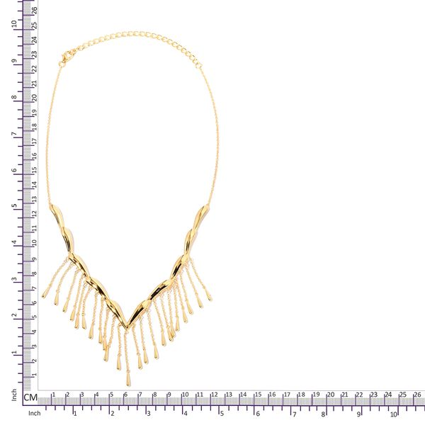 Lucy Q Yellow Gold Overlay Sterling Silver Falling Drip Necklace (Size 16 and 4 inch Extender), Silver wt 21.86 Gms.