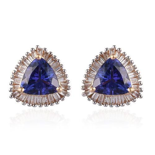 ILIANA 1.50 Ct AAA Tanzanite and Diamond Stud Halo Earrings in 18K Gold SI GH