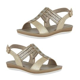 Lotus Gold Rome Sling-Back Sandals