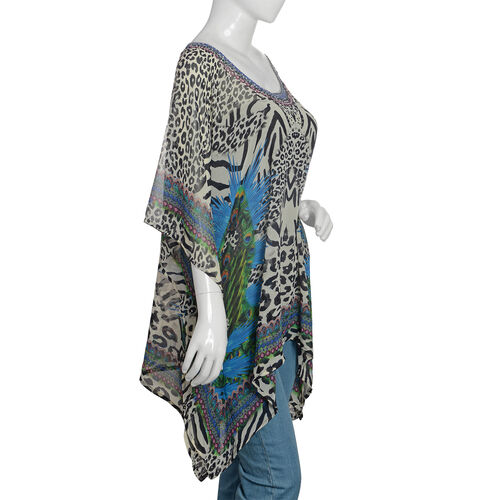 Designer Inspired- Off White, Black and Multi Colour Crystal Embellished Leopard Pattern Top (Size 80x65 Cm)