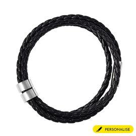 Personalised Engravable 2 Rings Leather Bracelet