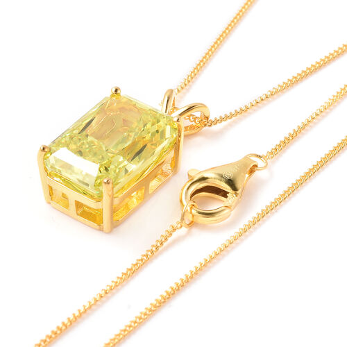ELANZA Simulated Peridot and Simulated Diamond Pendant With Chain in Yellow Gold Overlay Sterling Silver, Silver wt. 5.99 Gms