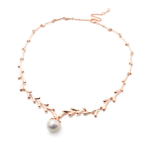LucyQ Pearl Collection-  Freshwater White Baroque Pearl Drip Design Necklace (Size 20) in Rose Gold