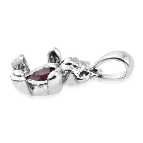 0.50 Ct African Ruby Heart Teddy Bear Pendant in Platinum Plated Silver