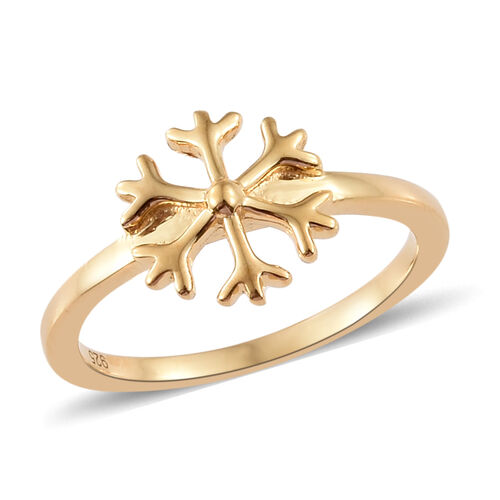 14K Gold Overlay Sterling Silver Snowflake Ring, Silver wt. 2.19 Gms.