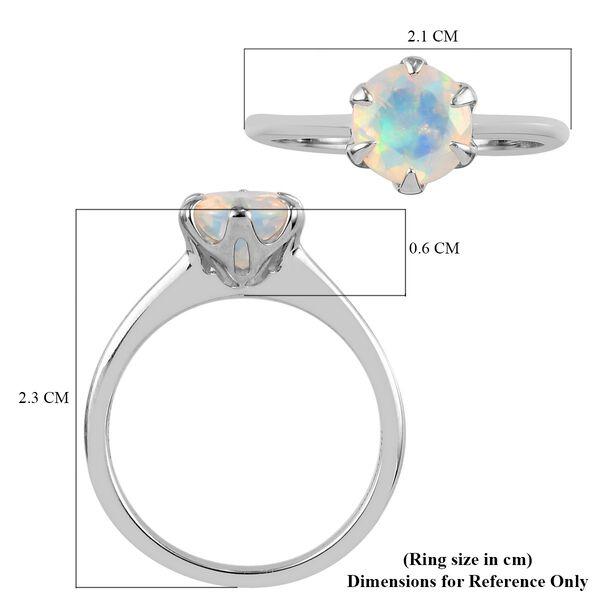 RHAPSODY 950 Platinum AAAA Ethiopian Welo Opal Solitaire Ring 0.85 Ct.