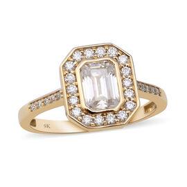 9K Yellow Gold Moissanite Ring 1.38 Ct.