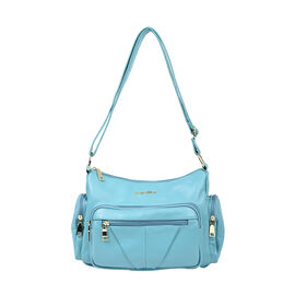 SENCILLEZ Multi Pocket Genuine Leather Crossbody Bag (Size 31x13x21 cm) - Turquoise