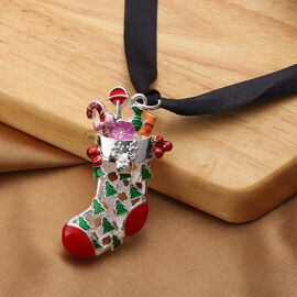 RACHEL GALLEY - Christmas Stocking Enamelled Charm in Silver Tone
