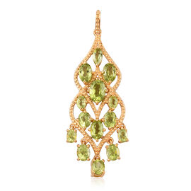 5.50 Ct Hebei Peridot Chandelier Cluster Pendant in Gold Plated Sterling Silver