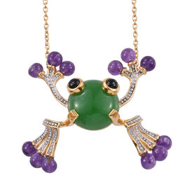 GP 18.73 Ct Green Jade and Multi Gemstone Frog Pendant with Chain in Gold Plated Sterling Silver