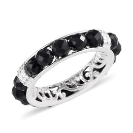 Boi Ploi Black Spinel Band Ring in Sterling Silver 6.50 Ct.