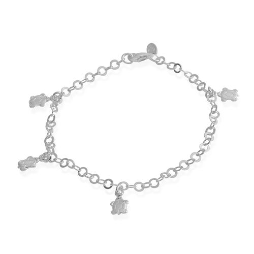 Sterling Silver Bracelet (Size 7.5) with Turtle Charms, Silver wt 3.40 Gms.