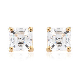 J Francis - 14K Yellow Gold Overlay Sterling Silver (Oct) Stud Earrings (With Push Back) Made with SWAROVSKI ZIRCONIA