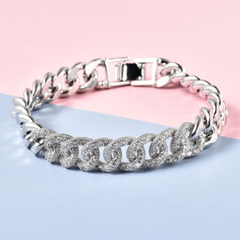 Simulated Diamond Curb Bracelet (Size - 7.5) in Silver Tone