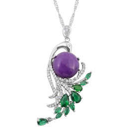 Purple Quartzite (Rnd), Simulated Diamond and Simulated Emerald Pendant with Chain (Size 20 with 2 i