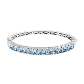 J Francis - Crystal from Swarovski Aquamarine Colour Crystal (Rnd) Bangle (Size 7.5) in Silver Plate