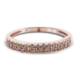 9K Rose Gold SGL Certified Champagne Diamond (I3) Band Ring 0.33 Ct.