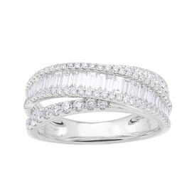 1.21 Ct Diamond Half Eternity Ring in 9K White Gold 4.1 Grams I1-I2 GH