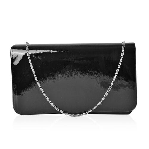 Black Colour Clutch Bag with Chain Strap (Size 21X12X5 Cm)