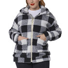 Black and White Checkered Pattern Faux Fur Coat with Pockets (Size L; 58x72cm)