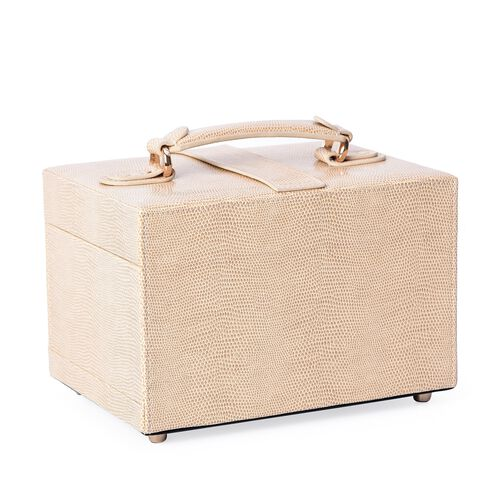 3-Layer Faux Leather Shagreen Jewellery Box with Inside Mirror, Two Pulled-out Drawers and Velvet Lining (Size 22x16x14 Cm)