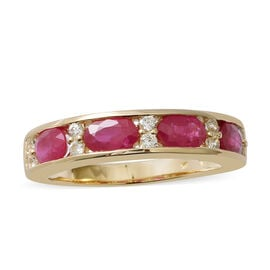 9K Yellow Gold AAA Burmese Ruby (Ovl 2.07 Ct), Natural Cambodian White Zircon Ring 2.410 Ct.