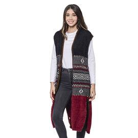 LA MAREY Red Tribal Pattern Long Hooded Vest Cardigan (Size upto 22)