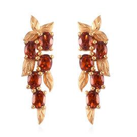 Hessonite Garnet Dangle Earrings (with Push Back) in 14K Gold Overlay Sterling Silver 2.75 Ct.