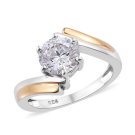J Francis - Platinum and Yellow Gold Overlay Sterling Silver (Rnd) Solitaire Ring (Size T) Made with SWAROVSK