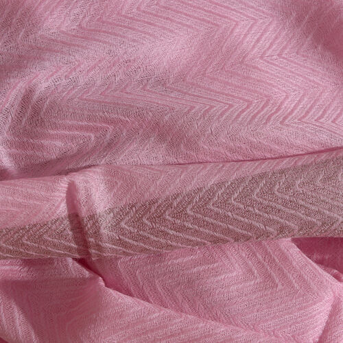 100% Cashmere Wool Pink Colour Zigzag Pattern Shawl with Fringes (Size 200X65 Cm)